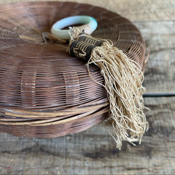 Vintage Wicker Woven Storage Basket With Lid